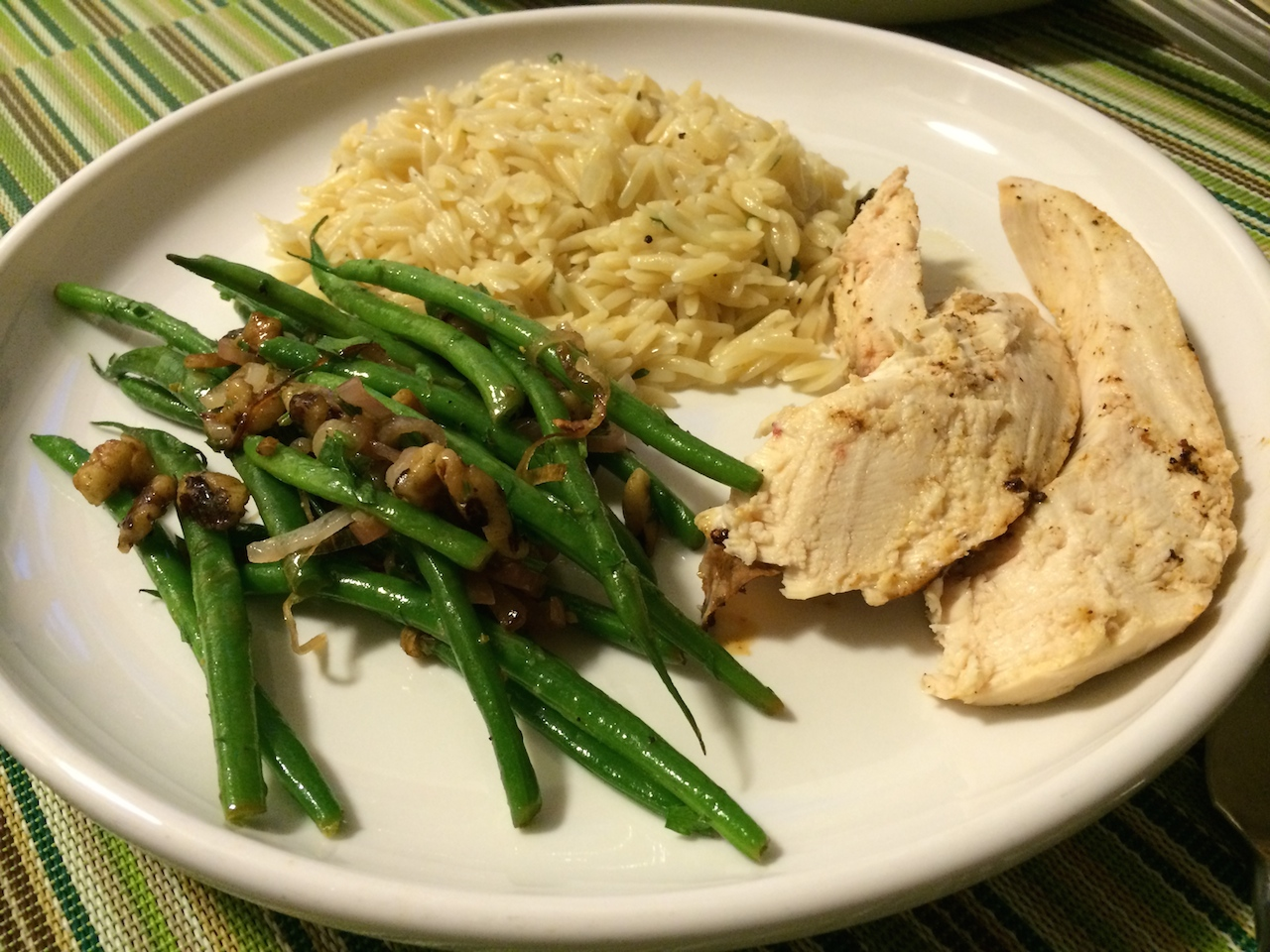 Roasted Chicken With Moroccan Spices, Cheesy Orzo and Green Beans with ...